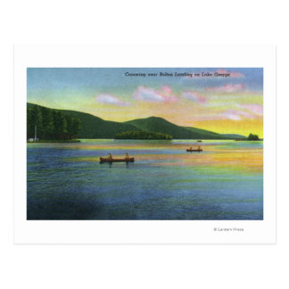 Bolton Landing View of Couples Canoeing Postcard