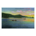 Bolton Landing View of Couples Canoeing Poster
