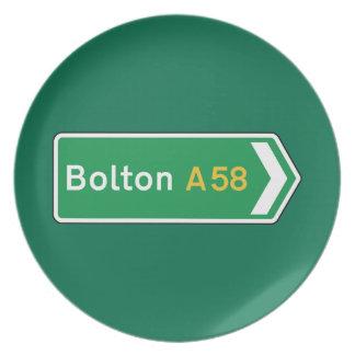 Bolton señal de tráfico BRITÁNICA Platos