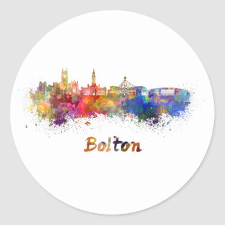 Bolton skyline in watercolor classic round sticker