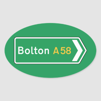 Bolton, UK Road Sign Oval Stickers
