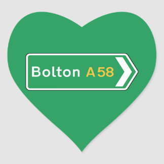 Bolton, UK Road Sign Heart Stickers