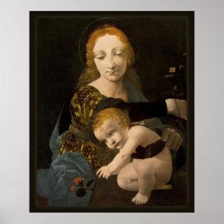 Boltraffio Madonna del poster color de rosa de Póster