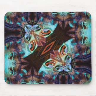Bolts In Teal and Indigo Geometric Mouse Pad