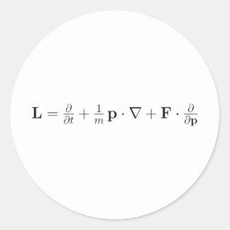 Boltzmann equation, black classic round sticker