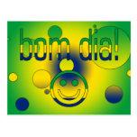 Bom Dia! Brazil Flag Colors Pop Art Post Card