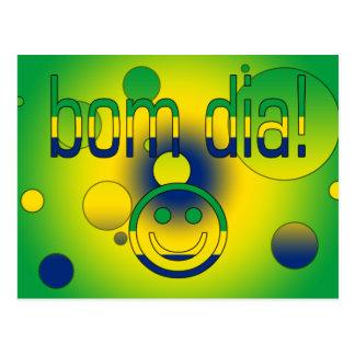 Bom Dia! Brazil Flag Colors Pop Art Postcard