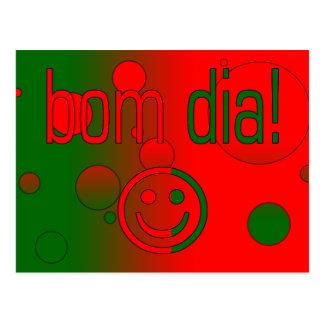 Bom Dia! Portugal Flag Colors Pop Art Postcard