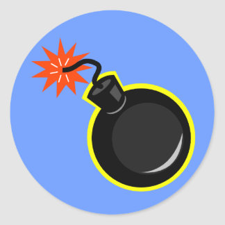 Bomb And Lit Fuse Classic Round Sticker