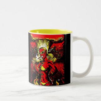 Bomba atómica del chica del diablo taza de café de dos colores