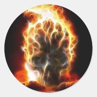 Bomba atómica del cráneo pegatina redonda