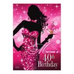 Bomba chispa 40.o cumpleaños el   fuschia 12 de anuncio personalizado