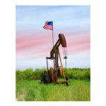 Bomba de aceite con la bandera americana flyer a todo color