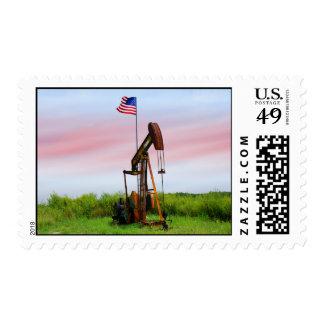 Bomba de aceite con la bandera americana sellos