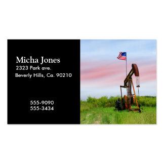 Bomba de aceite con la bandera americana tarjetas de visita