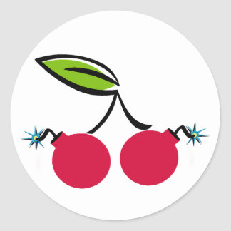 Bomba de cereza etiquetas redondas