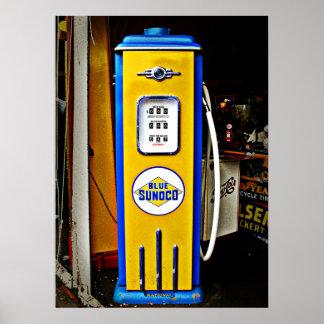 Bomba de gas azul del vintage de Sunoco Póster