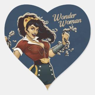 Bomba de la Mujer Maravilla Pegatina En Forma De Corazón