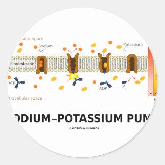 Bomba de sodio-potasio (transporte activo) etiqueta redonda
