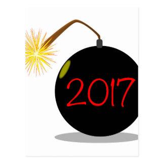 Bomba del Año Nuevo del dibujo animado 2017 Postales