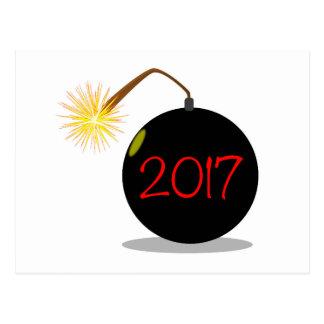 Bomba del Año Nuevo del dibujo animado 2017 Tarjetas Postales