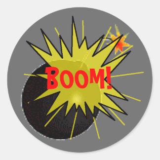 Bomba del auge pegatina redonda