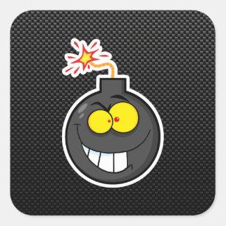 Bomba del dibujo animado; Liso Pegatina Cuadrada