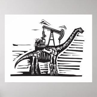 Bomba del pozo de petróleo del Brontosaurus Póster