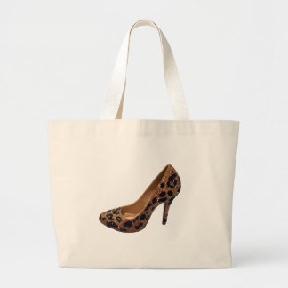 Bomba del zapato del tacón alto del estampado leop bolsa tela grande