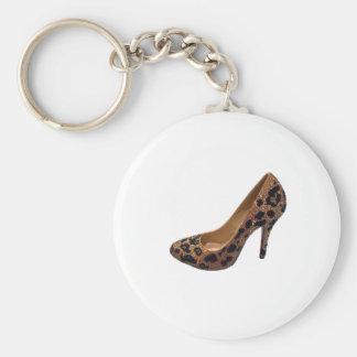 Bomba del zapato del tacón alto del estampado leop llavero redondo tipo pin