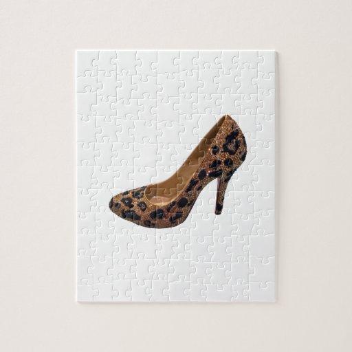 Bomba del zapato del tacón alto del estampado leop puzzle con fotos