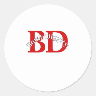 Bomba Diggity escuela vieja Etiqueta Redonda