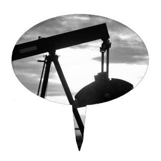 Bomba Jack del pozo de petróleo blanco y negro Decoración De Tarta