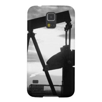 Bomba Jack del pozo de petróleo blanco y negro Carcasa De Galaxy S5
