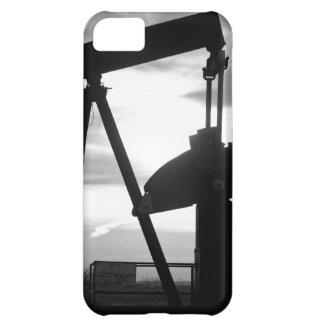 Bomba Jack del pozo de petróleo blanco y negro Funda Para iPhone 5C