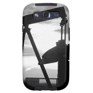 Bomba Jack del pozo de petróleo blanco y negro Samsung Galaxy S3 Carcasa