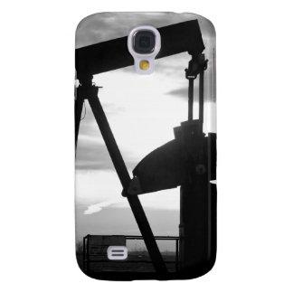 Bomba Jack del pozo de petróleo blanco y negro Funda Para Galaxy S4