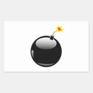 Bomba redonda grande con el fusible del Lit Pegatina Rectangular