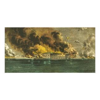 Bombardeo americano de la guerra civil del fuerte  tarjeta fotográfica