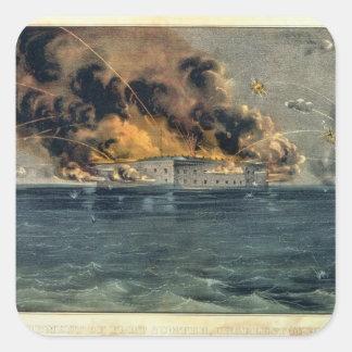 Bombardeo del fuerte Sumter Calcomanía Cuadradas Personalizadas