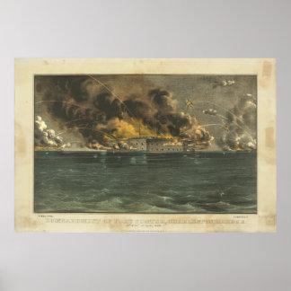 Bombardeo del fuerte Sumter por curtidor y Ives Posters