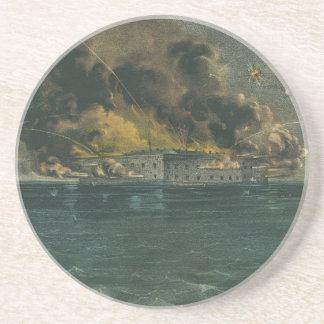 Bombardeo del fuerte Sumter por curtidor y Ives Posavasos Personalizados