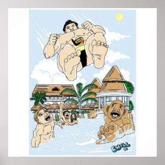 Bombardero de zambullida del sumo póster