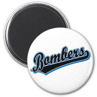 Bombarderos en negro y azul imán redondo 5 cm