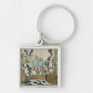 Bombardment and Siege of Algiers, 3rd July 1830 Silver-Colored Square Keychain