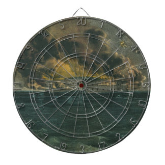 Bombardment of Fort Sumter by Currier & Ives Dartboard With Darts