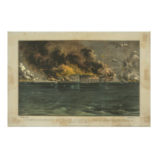 Bombardment of Fort Sumter by Ives Poster