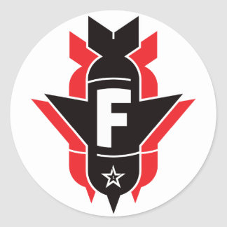 Bombas de caída de F - rojo Pegatina Redonda
