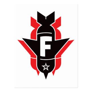 Bombas de caída de F - rojo Postal