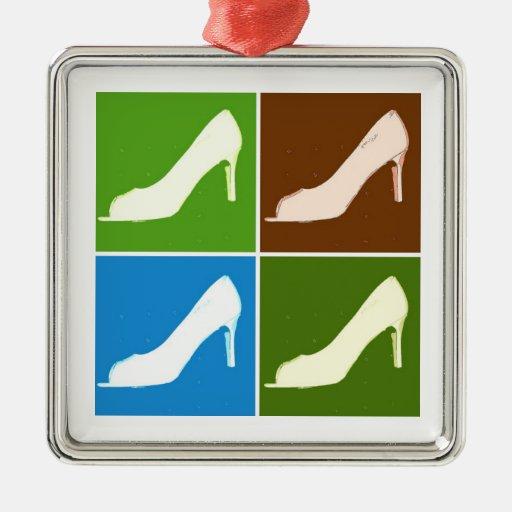 Bombas de la moda del amor del zapato adorno navideño cuadrado de metal